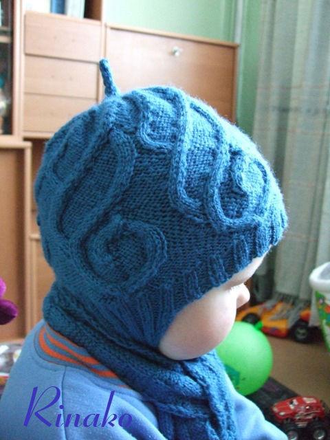 детская шапка с ушками спицами
