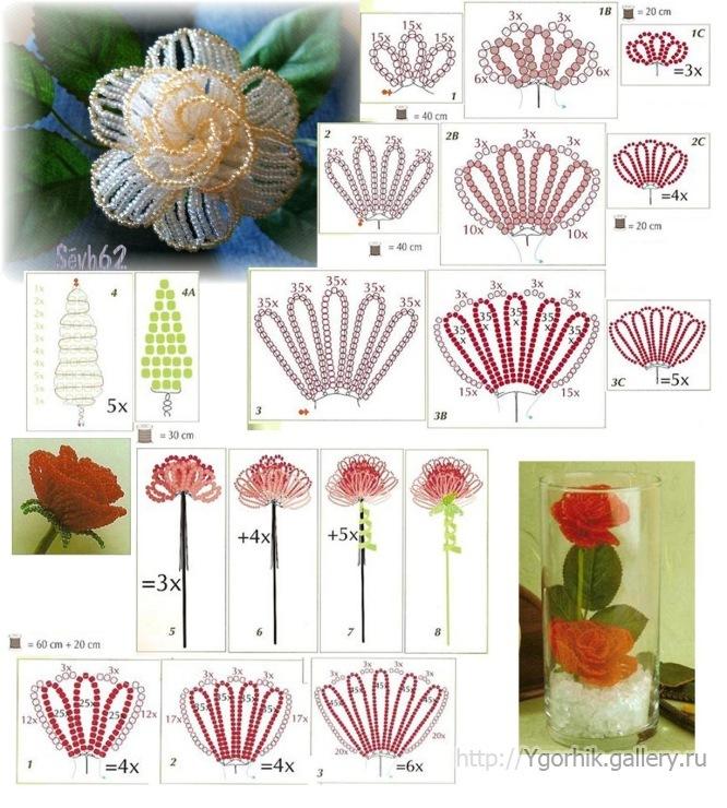бисероплетение роза схема