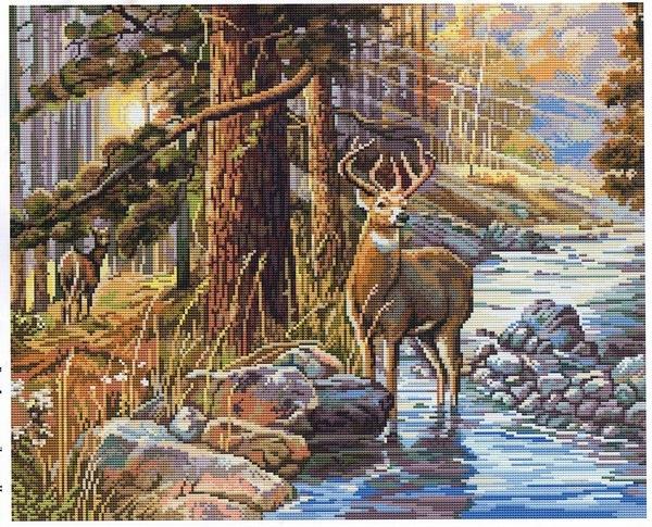 Схемы вышивки крестом олени в лесу