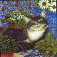 Вышивка бисером спящие коты 803